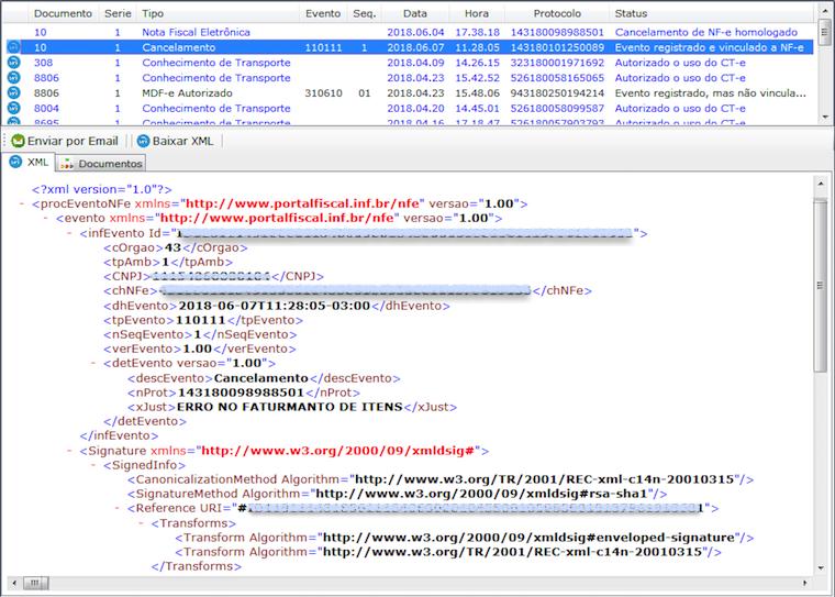 Visualização dos XML's de NFe e Eventos